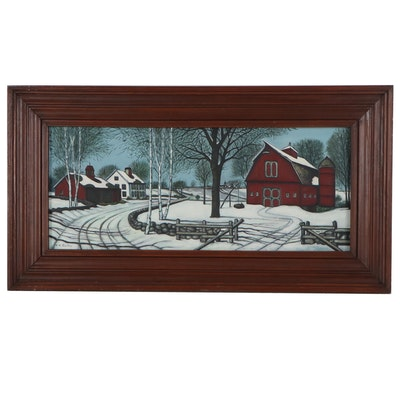 Winter Farm Scene Acrylic Painting, Late 20th Century