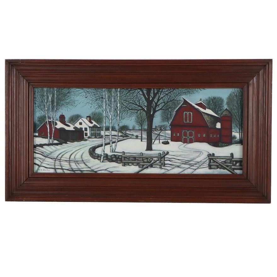 Winter Farm Scene Acrylic Painting, Late 20th Century