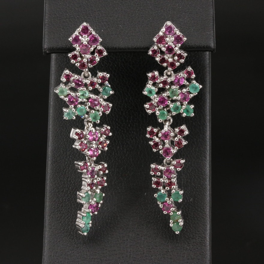 Sterling Garnet and Beryl Cluster Dangle Earrings