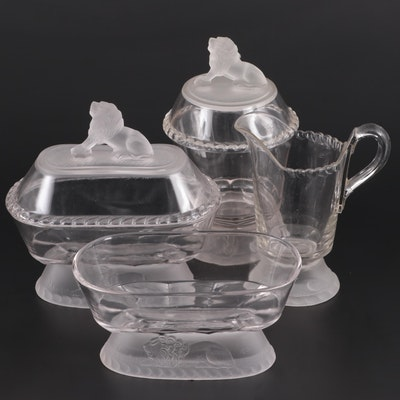 Gillinder & Sons Glassware with Lion Motif Compotes, Pitcher and Bowl