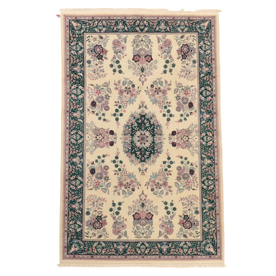6'7 x 8'10 Hand-Knotted Indo-Persian Kerman Wool Area Rug