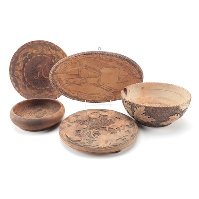 "Pyrography Wood Bowls, Dish, Trivet, and ""We Give Thanks"" Wall Décor"
