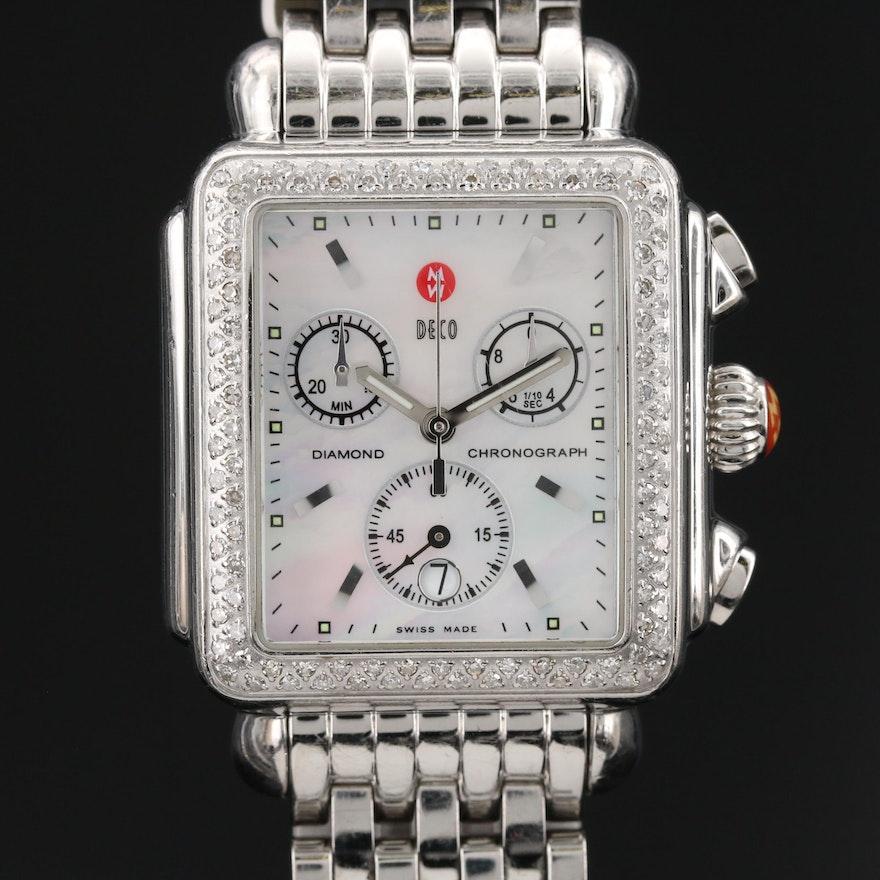 "Michele ""Deco"" Chronograph Diamond and Stainless Steel Quartz Wristwatch"