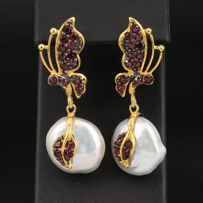 Sterling Pearl and Garnet Butterfly Drop Earrings