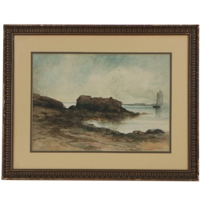 Nautical Seaside Watercolor Painting, Early 20th Century