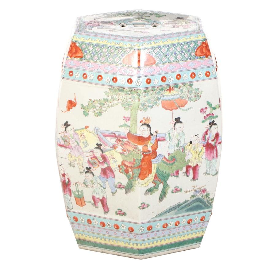 Chinese Ceramic Garden Seat with Garden Scenes