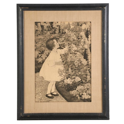 Bessie Wilcox Smith Halftone Print of Child in Flowers