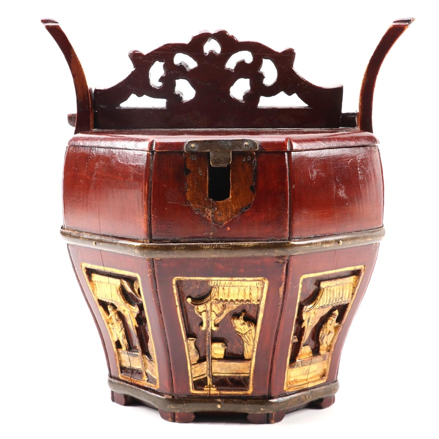 Chinese Carved Partial Gilt  Red Lacquered Wedding Basket