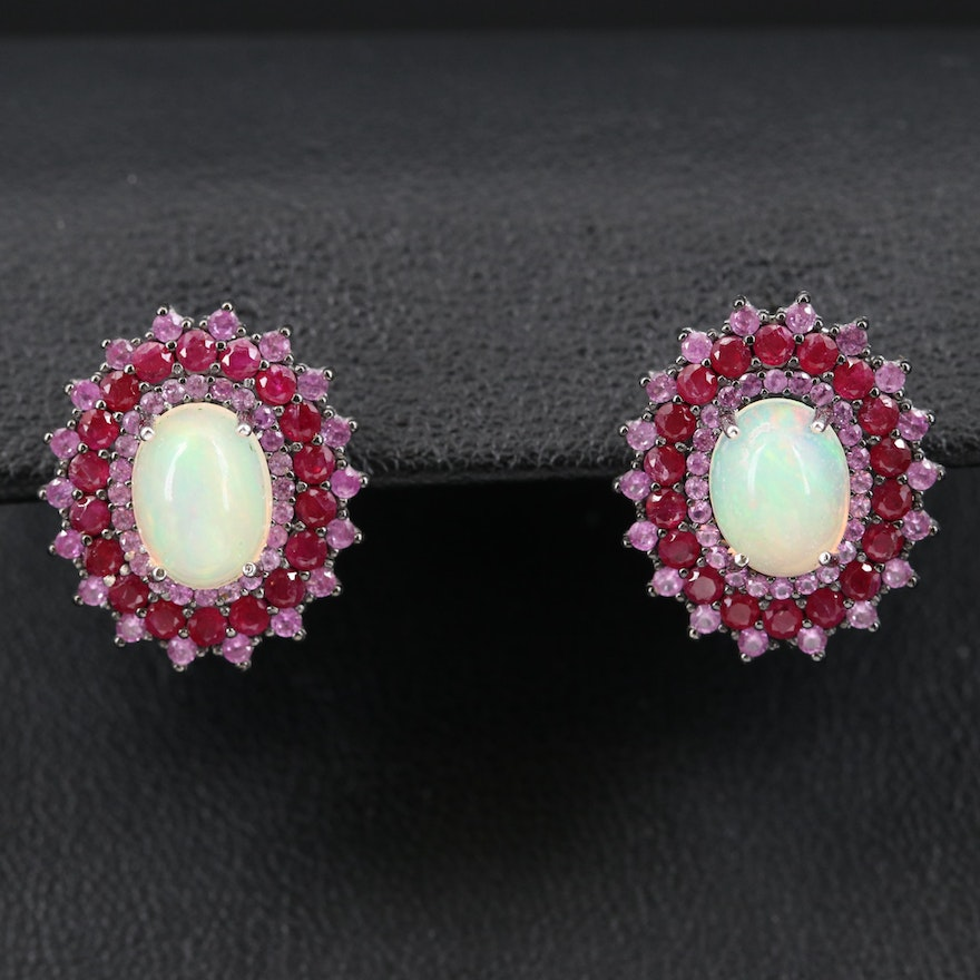 Sterling Opal, Ruby and Sapphire Earrings