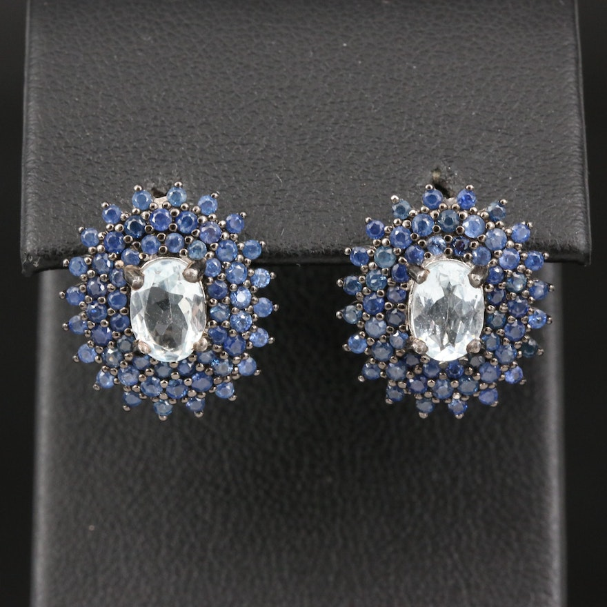 Sterling Aquamarine and Sapphire Halo Earrings
