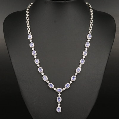 Sterling Tanzanite and Cubic Zirconia Halo Drop Necklace