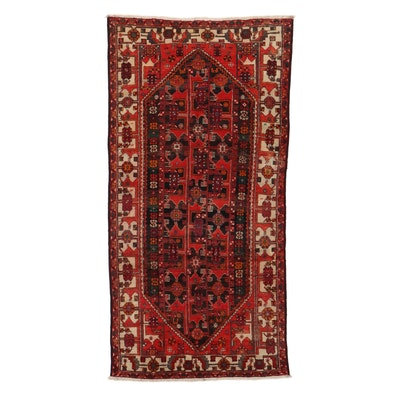 5'0 x 10'0 Hand-Knotted Persian Zanjan Rug, 1960s