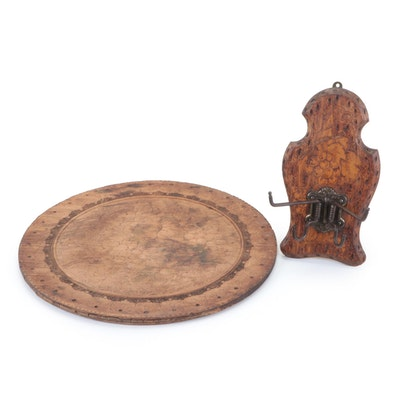 Pyrography Grape Motif Wooden Coat Hook and Wall Hanging, Early 20th Century