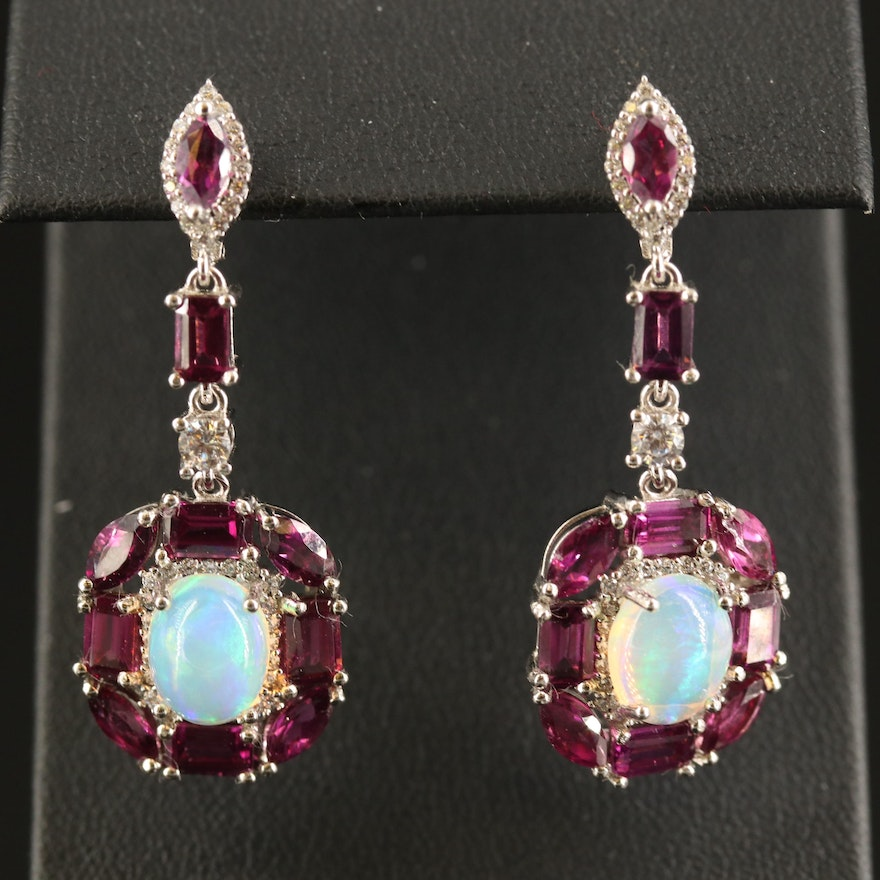 Sterling Opal, Garnet and Cubic Zirconia Drop Earrings