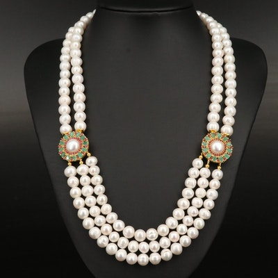 Sterling Pearl, Emerald and Ruby Multi-Strand Necklace