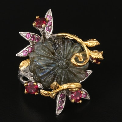 Sterling Feldspar and Garnet Floral Ring