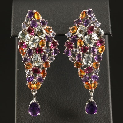 Sterling Cluster Earrings with Amethyst, Citrine, Garnet and Aquamarine