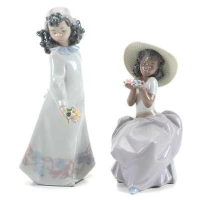 "Lladró ""Pretty Posies"", ""Sweet Fragrance"" Porcelain Figurines, Late 20th Century"