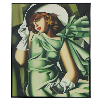 Oil Painting after Tamara de Lempicka of Woman in Green, circa 2000