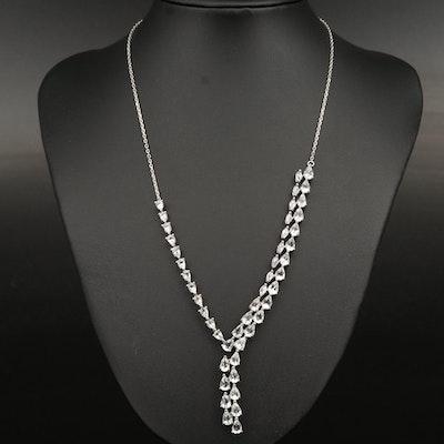 Sterling Silver Aquamarine Asymmetrical Y Necklace
