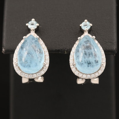 Sterling Aquamarine, Topaz and Cubic Zirconia Teardrop Earrings