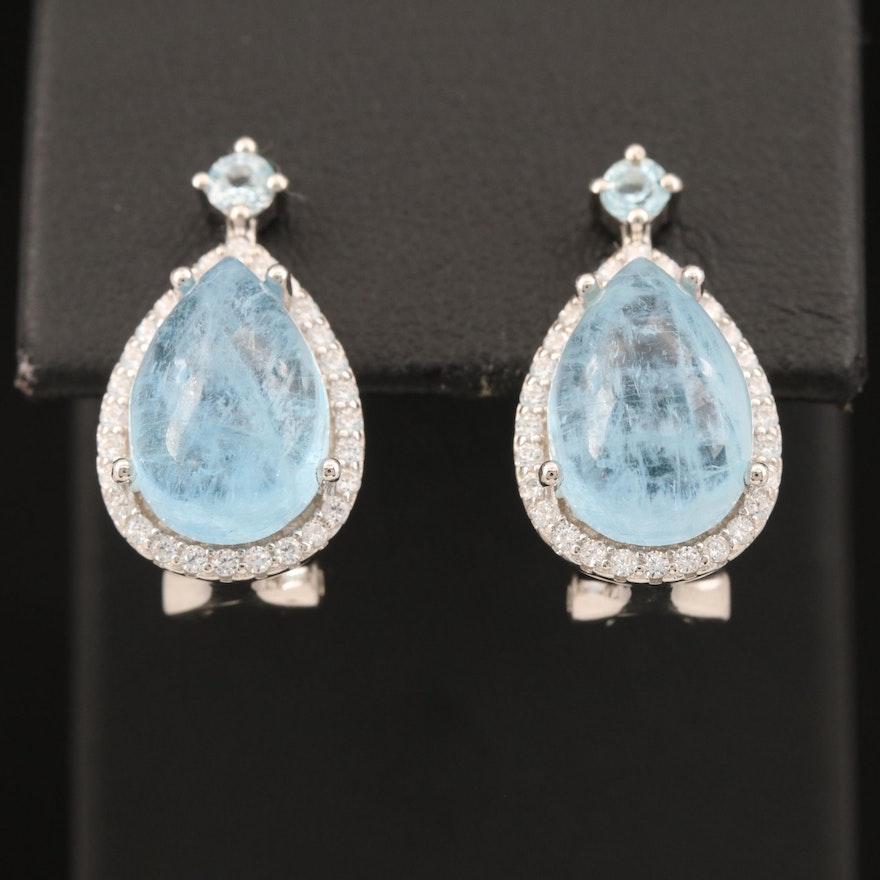 Sterling Aquamarine, Topaz and Cubic Zirconia Teardrop Earrings
