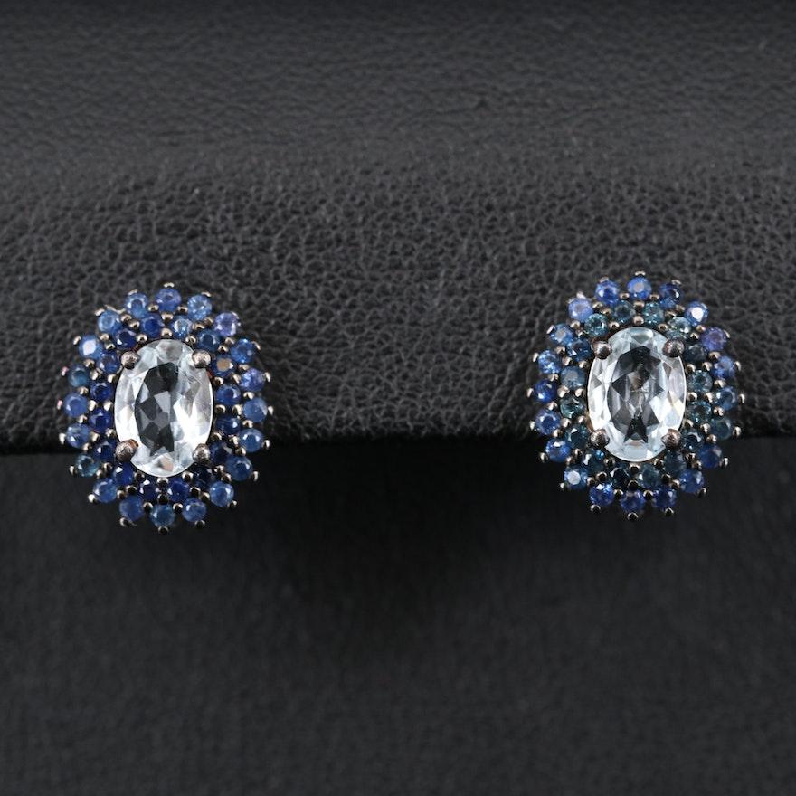 Sterling Goshenite and Sapphire Earrings