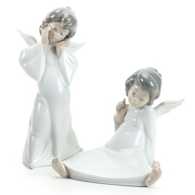 "Lladró ""Mime Angel"" and ""Angel Wondering"" Figurines Designed by Salvador Debón"