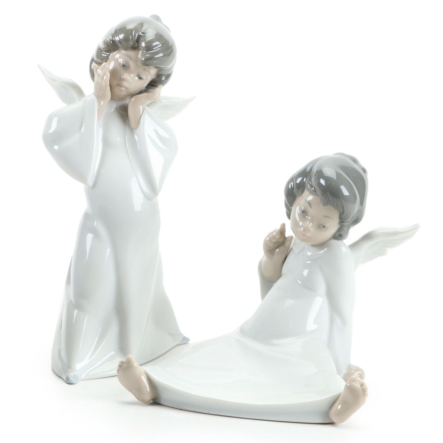 "Lladró ""Mime Angel"" and ""Angel Wondering"" Figurines Designed by Salvador Debón"