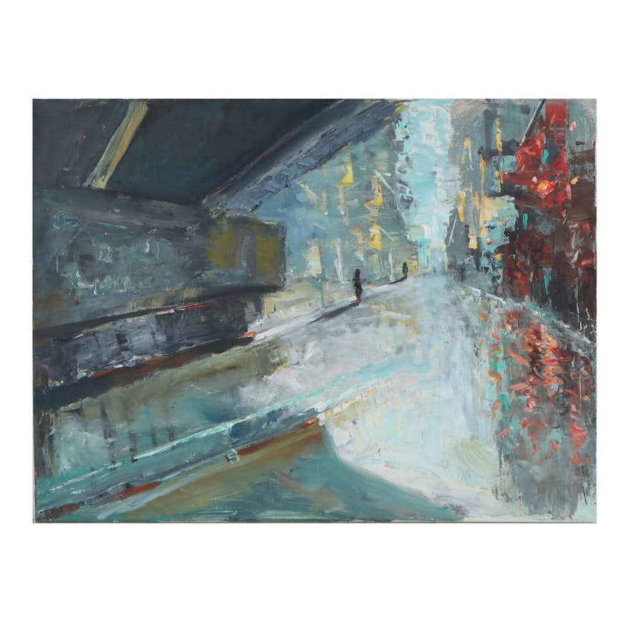 """Leif Janek Abstract Acrylic Painting """"The City,"""" 21st Century"""