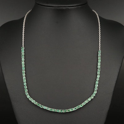 Sterling Emerald Line Necklace