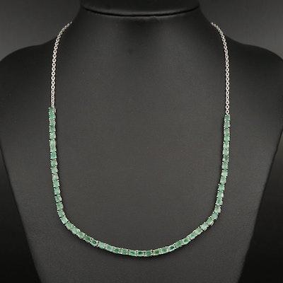 Sterling Emerald Line Necklace