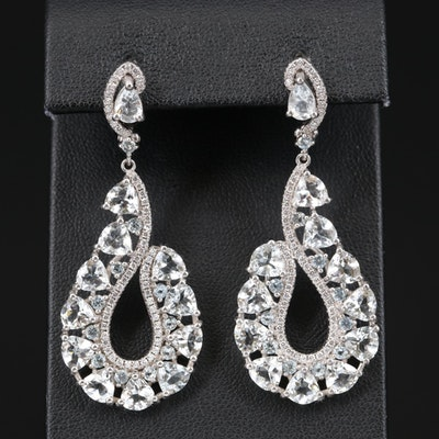 Sterling Goshenite and Cubic Zirconia Earrings