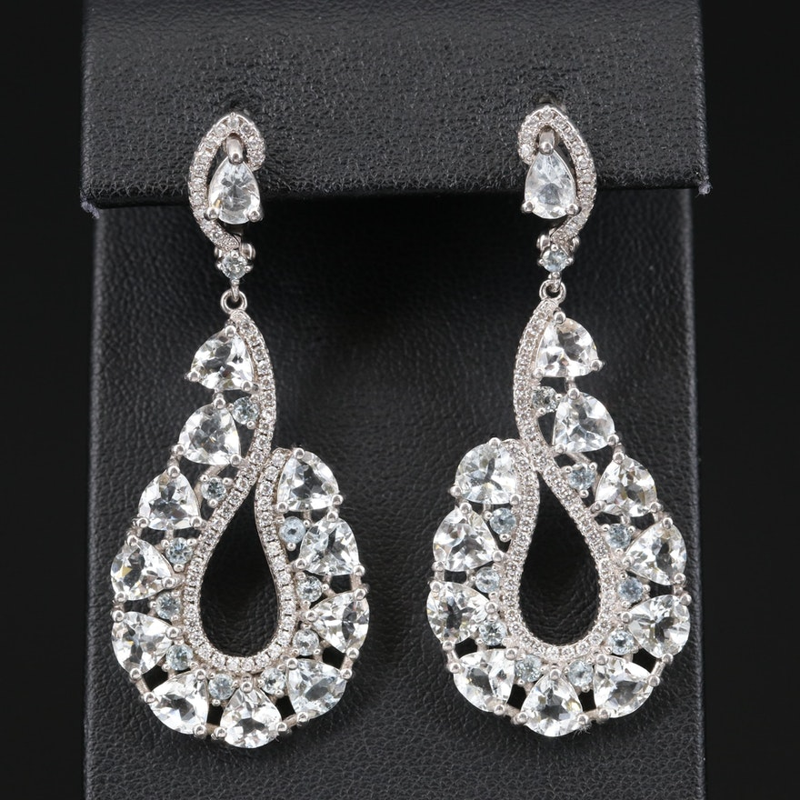 Sterling Goshenite and Cubic Zirconia Earrings
