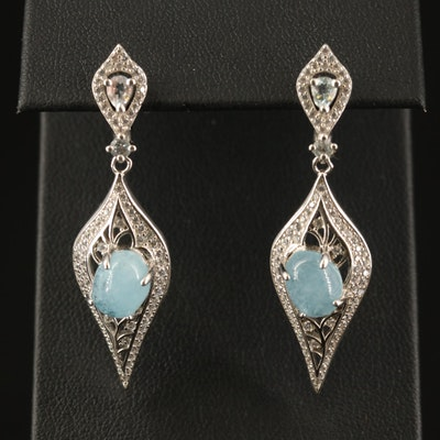Sterling Beryl, Topaz and Cubic Zirconia Dangle Earrings