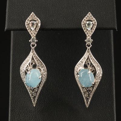 Sterling Beryl, Topaz and Cubic Zirconia Dangle Earrings
