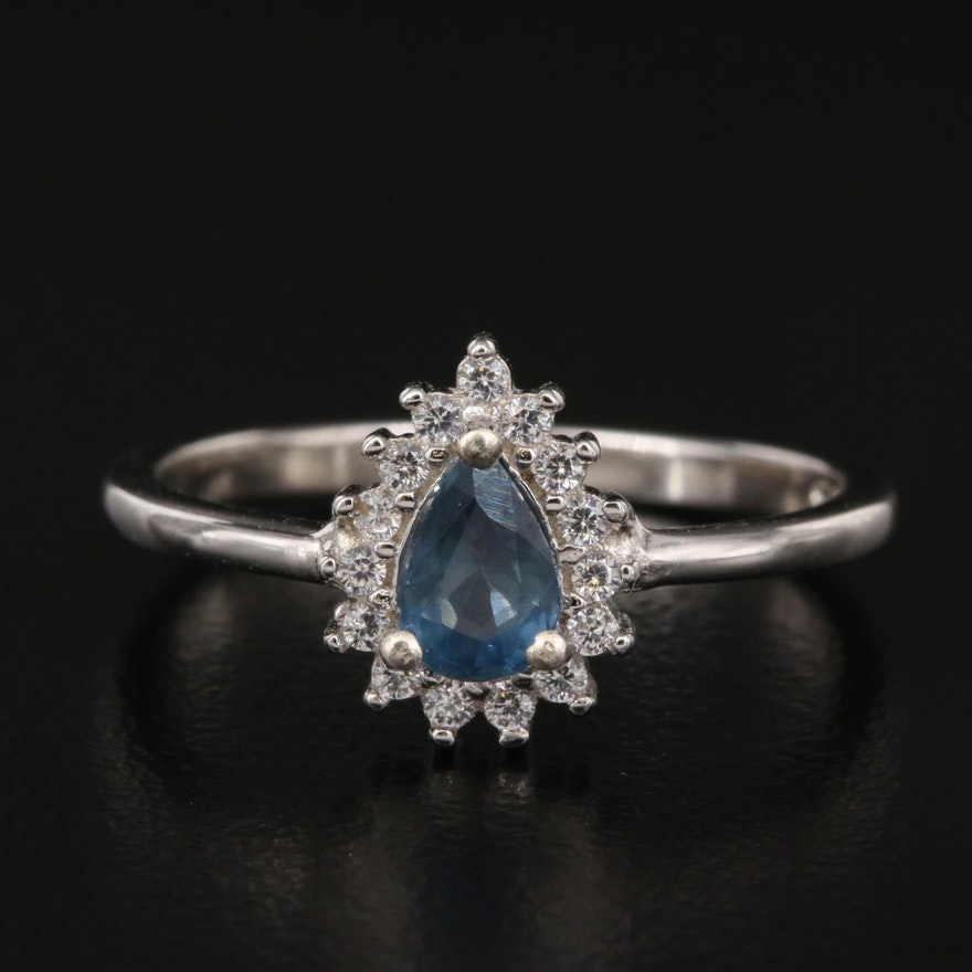 Sterling Sapphire and Cubic Zirconia Halo Ring