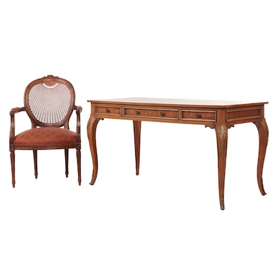 Metz Louis XV Style Walnut Desk with Fairfield Caned-Back Armchair