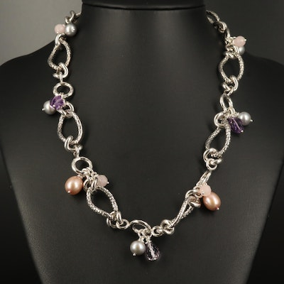 Michael Dawkins Sterling Amethyst, Pearl and Rose Quartz Necklace