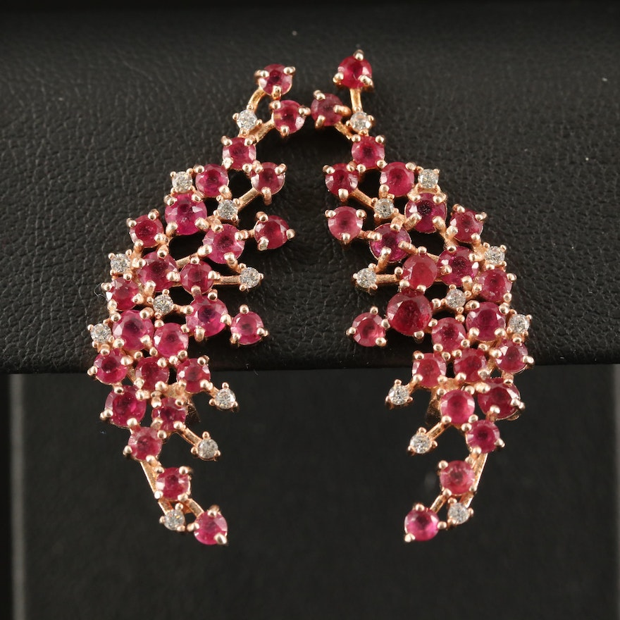 Sterling Corundum and Cubic Zirconia Cluster Earrings