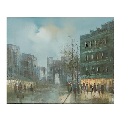 European Cityscape Oil Painting, Late 20th Century