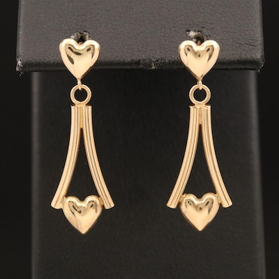14K Heart Dangle Earrings