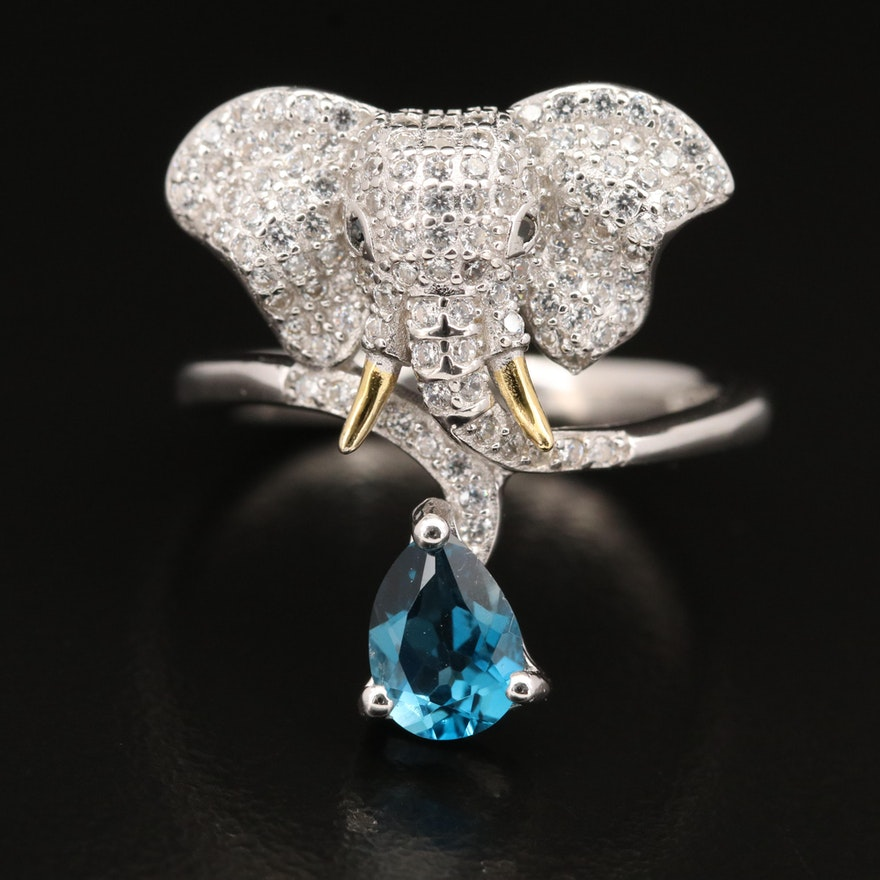 Sterling Elephant Bypass Ring Featuring Topaz, Spinel and Cubic Zirconia
