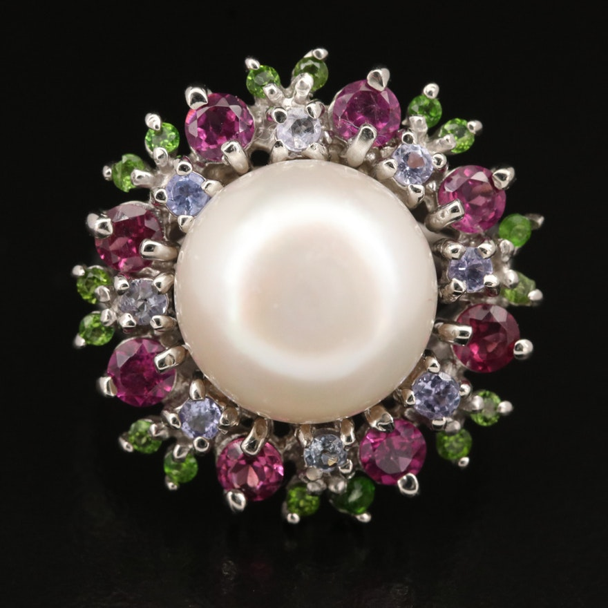 Sterling Pearl and Gemstone Ring