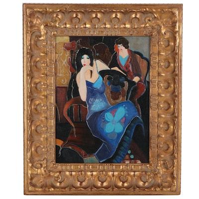 Acrylic Painting after Itzchak Tarkay, 21st Century