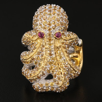 Sterling Sapphire and Garnet Octopus Ring