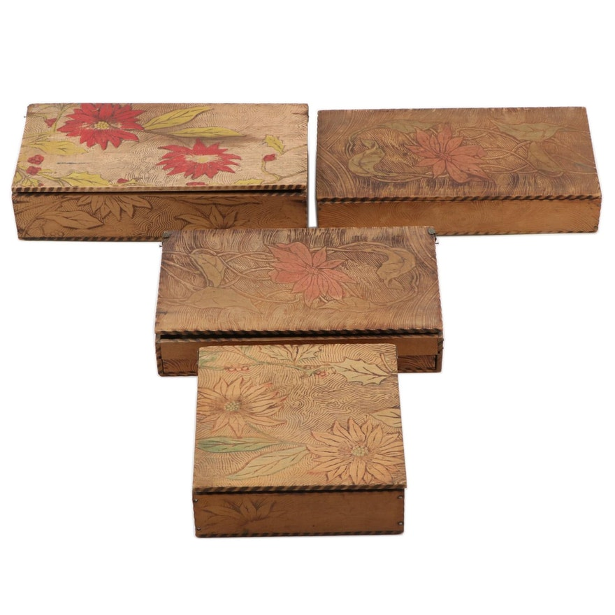 Art Nouveau Floral Pyrography Wooden Boxes, Early 20th Century