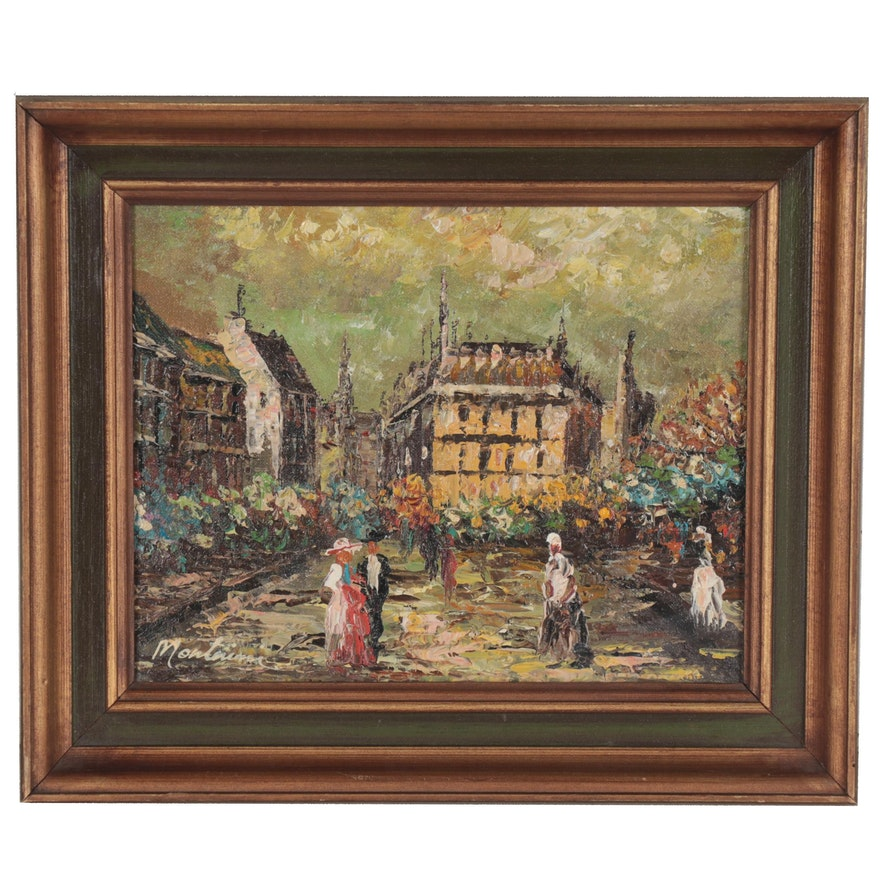 Impressionist Style Oil Painting of City Square, Late 20th Century