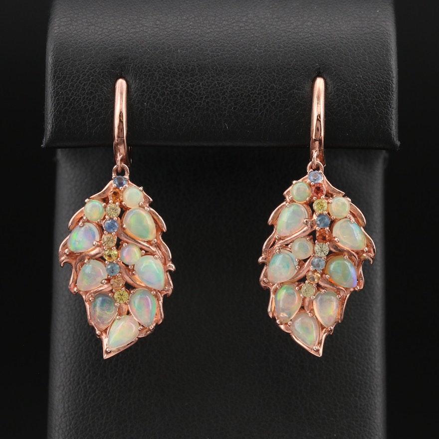 Sterling Opal and Sapphire Foliate Earrings