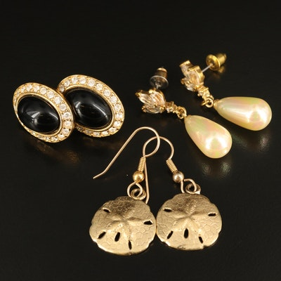 Napier Button Earrings with Faux Pearl and Sand Dollar Dangle Earrings